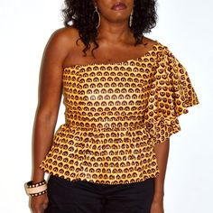 African Brown And Yellow One Shoulder Peplum by ZabbaDesigns, $35.00 #Africanfashion #AfricanClothing #Africanprints #Ethnicprints #Africangirls #africanTradition #BeautifulAfricanGirls #AfricanStyle #AfricanBeads #Gele #Kente #Ankara #Nigerianfashion #Ghanaianfashion #Kenyanfashion #Burundifashion #senegalesefashion #Swahilifashion DK