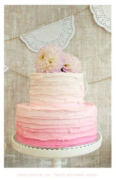 Pink Ombre Cake #wedding