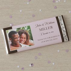 Personalized Photo Wedding Favor Candy Bar Wrappers - Filigree