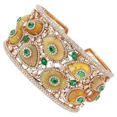 Ethiopian Opal Emerald Diamond Gold Cuff Bracelet 1