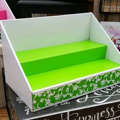 New for Spring 2016!Original Stack Display - White Display with Lime Green Insert and Lime Green Scroll Design - 14