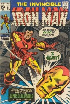 The Invincible Iron Man 21 Marvel Comic Book, Early Ironman by on Etsy Marvel Comics Superheroes, Marvel Comic Books, Comic Book Characters, Comic Book Heroes, Comic Character, Comic Books Art, Vintage Comic Books, Vintage Comics, Tony Stark
