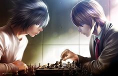 L and Light playing chess