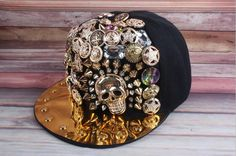 bling hiphop handmade skull rivets gold rim decoration snapback DJ cap baseball hat trendsetter singer dancer snapback five stars charm cap by littledandeliondream on Etsy