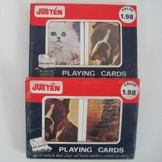 Vtg Justen Playing Cards Cat Dog 2 Decks Per Box Sealed Plastic Coated Hong Kong #Justen