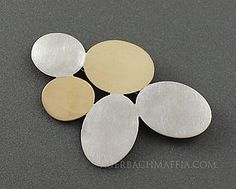 Betty Cooke Modernist Sterling and Brass Brooch $1400