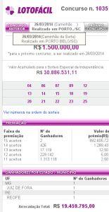 Lotofácil 1035 - resultado do sorteio de hoje, 26/03/2014