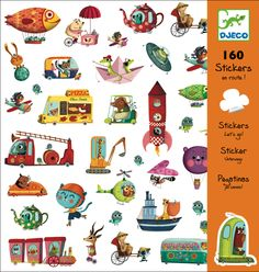 This Djeco Stickers pack is called 'Let's Go' and it features lots of animls taking a journey. There are 160 children's stickers in the packet. Childrens Stickers, Transportation Theme, Clipart Design, Love Illustration, 5 Year Olds, Party Bags, My Favorite Music, Bunt, Letting Go