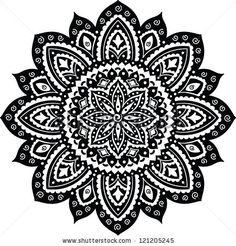 Black Indian ornament mandala by Transia Design, via ShutterStock