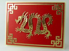 handcrafted greeting card ... from Frantic Stamper ...Precision Die cut ... dragon and frame of gold foil ... red background ...