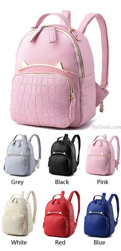 Which color do you like? Leisure Crocodile PU Rucksack Kitten Ear School Shopping Backpack #leisure #kitten #school #backpack #ear #PU #kitty
