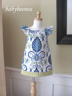 SANTA MONICA - Fully Lined, Ruffle Sundress - Wonderland in Blue - Made to Order - Sizes - 12M, 18M, 2T, 3T, 4T, 5, 6, 7, 8