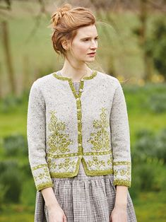 AMARYLLIS from Springtime Collection Six by Marie Wallin 8 handknit designs for women by Marie Wallin. A beautiful trans-seasonal collection of quintessential feminine knitwear featuring floral intarsias, fairisles, subtle lace and twisted stitch textures. Mainly using Rowan Felted Tweed, this collection is the ideal solution to the problem of what to wear on a sunny spring day when it's still chilly outside | English Yarns http://englishyarns.co.uk/rowan-marie-wallin-springtime.html