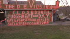 """'Satanic' Christmas lights anger town. That a man in Carter County, Tennessee, has the town people very upset because of the """"Christmas lights"""" he's put up at the side of Highway 19-E.  It's a sign of bright red letters, lit up with Christmas lights, saying:  """"The Devil's Inn is closed until Judgement Day. Satan Satan Hear My Plea, Satan Satan Come to Me."""" http://www.starhq.com/reader-detests-%E2%80%98satanic%E2%80%99-sign-displayed-beside-highway-19-e/"""