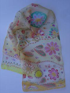 Hand painted silk scarf hand painted batik silk by AdeleDaniele