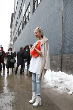 A Note on Style: street style details….LOVE the shearling, the oversized top, the faded denim…perfect.
