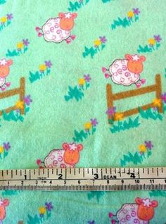 COTTON-FLANNEL-COUNTING-SHEEP-MINT-GREEN-COTTON-QUILT-FABRIC