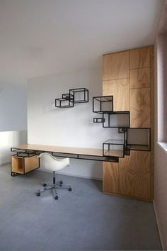 Most Popular Modern Home Office Design Ideas For Inspiration - Modern Interior Design Industrial Interior Design, Office Interior Design, Home Office Decor, Office Interiors, Office Furniture Design, Office Ideas, Regal Design, Luxury Office, Cheap Home Decor