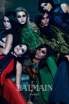 Balmain Taps Power Sisters For Fall 2015 CampaignBella and Gigi Hadid, Erika and Joan Smalls and Kendall and Kylie Jenner modelPhotographed by Mario Sorrenti
