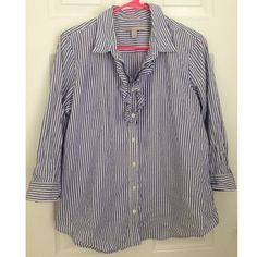Old Navy Oxford Shirt Old Navy Oxford with the ruffle detailing at neck. In excellent used condition. Old Navy Tops Button Down Shirts