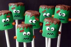 Pin for Later: 26 Halloween Treats That Are Cute, Not Creepy Frankenstein Marshmallow Pops Get the recipe: Frankenstein marshmallow pops.