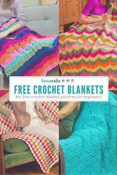Browse these 51 free crochet afghan patterns for beginners and make a gorgeous new afghan for your home or as a gift. These are easy patterns for all! Crochet Afgans, Crochet Blankets, Baby Blanket Crochet, Crochet Baby, Free Crochet, Easy Crochet, Manta Crochet, Tunisian Crochet, Crochet Stitches Patterns