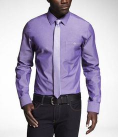 GROSGRAIN PLACKET CHAMBRAY FITTED SHIRT at Express