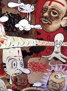 Collection of awesome street art, wall murals, freewalls & graffiti urban art on Mr Pilgrim Art Online Graffiti Art, Margaret Kilgallen, Barry Mcgee, Urbane Kunst, Human Art, Chalk Art, Sculpture, Street Artists, Portrait Art