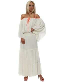 b725fa333017 Cream Neon Braid Boho Maxi Dress Kaftan, Beachwear, Cold Shoulder Dress,  Braids,