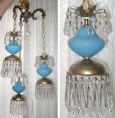 3Lt Vintage Aqua Blue Brass tole hanging swag lamp chandelier Hollywood Regency $367