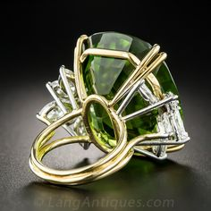 Colossal Vintage Peridot and Diamond Ring