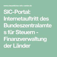SIC-Portal: Internetauftritt des Bundeszentralamtes für Steuern  -  Finanzverwaltung der Länder