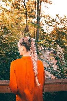 Hiking outfit, hike, braid, fishtail braid, ponytail, long hair, long blonde hair, blogger, red top, forest, dreaming, adventure, outfit, hike, river, portrait, autumn, lightroom