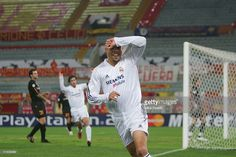 Ronaldo of Real Madrid celebrates opening the scoring in an empty stadium during the UEFA Champion's League group B match between AS Roma and Real Madrid on December 8, 2004 at the Stadio Olympico in Rome, Italy.