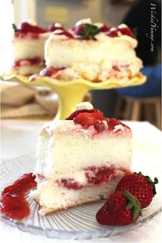 Strawberry Angel Food Cake with Whipped Cheesecake Frosting