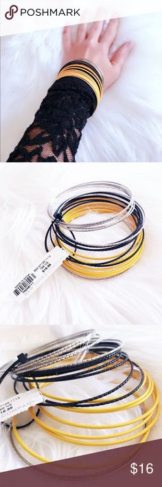Bangle bracelets Brand: New York & Company✔️ NWT! Colors: black, yellow & silver! 21 bracelets! Offers welcome ❤️no trades thank you New York & Company Jewelry Bracelets