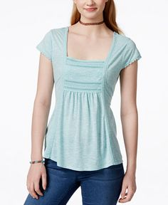American Rag Crochet-Trim Tie-Back Top, Only at Macy's