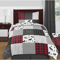 Shop for Sweet Jojo Designs Grey, Black and Red Woodland Plaid and Arrow Rustic Patch Collection Boy Twin-size Comforter Set. Get free delivery On EVERYTHING* Overstock - Your Online Kids Bedding Store! Get in rewards with Club O! Sports Bedding, Teen Bedding, Gray Bedding, Queen Size Comforter Sets, King Comforter, Luxury Duvet Covers, Luxury Bedding, Modern Bedding, Rustic Bedding