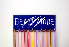 Medal Holder Featuring the Saying Beast Mode w/ Claw Marks - Beast Mode - Running Medals - Sports - Athletic Display - Medal Hanger by UntamedBranches on Etsy