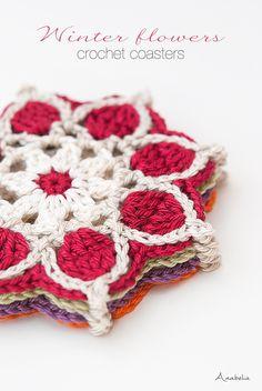 Winter Flowers crochet coasters, crochet motif # 1 / 2017