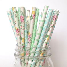 Mint Floral Paper Straws, Botanical Garden. Exquisite floral paper straws accompanied with beautiful mint and light blue patterns will take your event to the next level. | twigsandtwirls.com all domestic orders ship free |