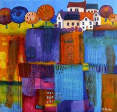 village fields by Ro Bruhn - acrylic paint and collaged papers on canvas Art And Illustration, Art Amour, Art Du Collage, Art Populaire, Naive Art, Art Graphique, Art Design, Fabric Art, Oeuvre D'art