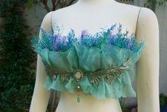 Nereid Mermaid Seaweed Bra by creatureshabit on Etsy Diy Costumes, Dance Costumes, Halloween Costumes, Mermaid Costumes, Mermaid Bra, Mermaid Tails, Nymph Costume, 32 Birthday, Water Nymphs