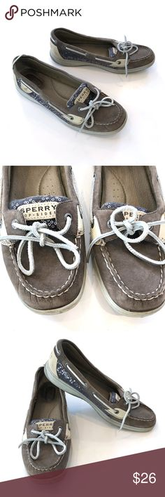 Women's Sperry Top-Sider Angelfish Boat Shoes Up for sale in good preowned condition Women's Sperry Top-Sider Angelfish Boat Shoe Gray Sequins SZ 10M. Shoes show slight sign of wear but are still in good condition. Please see photos for details. Check out my closet, bundle and give me your offer! Sperry Shoes Flats & Loafers
