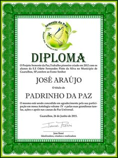 Title of God Father of Peace - Seed of Peace Project - Guarulhos City - São Paulo - Brazil - South América
