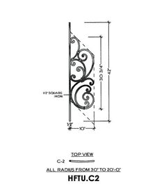Tuscany Panel Piece C2 Curved Panel, Fits Angles 20° to 36° 10″ wide 42″ tall 1/2″ Square Iron This is the Tuscany C2 wrought iron panel made by Regency Railings. It is a curved panel that fits angles 20° to 36°