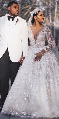 lace ball gown wedding dresses deep v neckline with long sleeve