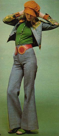 jacket and pants: Kenzo Jap, blouse: Eta, belt: Jose Cotel, shoes: Charles Jourdan, Elle France - May 8 1971, Photographed by Peter Knapp