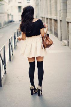 thigh high socks. Leopard shoes. Adorbz skirt.