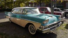 a 2 door. i dig the colors on this one. and it has the same color interior.. love that..   kinda loving the wheels as well..  1958 Ford Fairlane 500 Club-Victoria | Flickr - Photo Sharing!